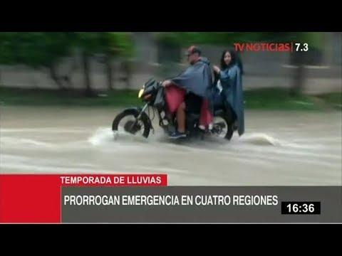 Prorrogan emergencia por lluvias en 4 regiones del sur del país