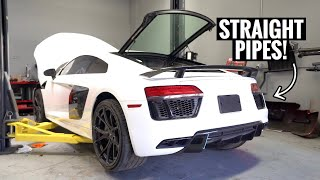 Trying to Start my WRECKED Audi R8 for the first time!(LOUD WARNING)