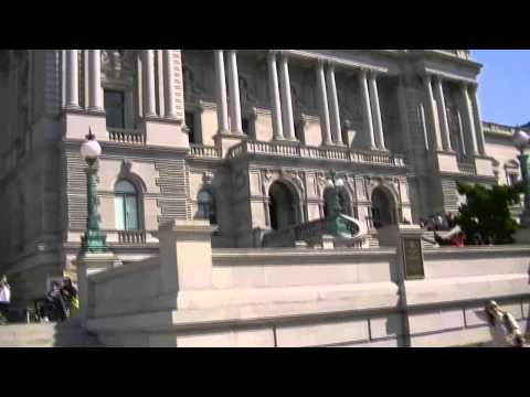 Exterior of Library of Congress in Washington, DC (HD)