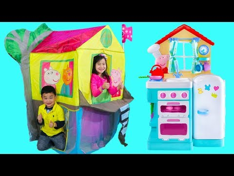 Jannie Pretend Play with Peppa Pig Treehouse Tent Toy with Lyndon