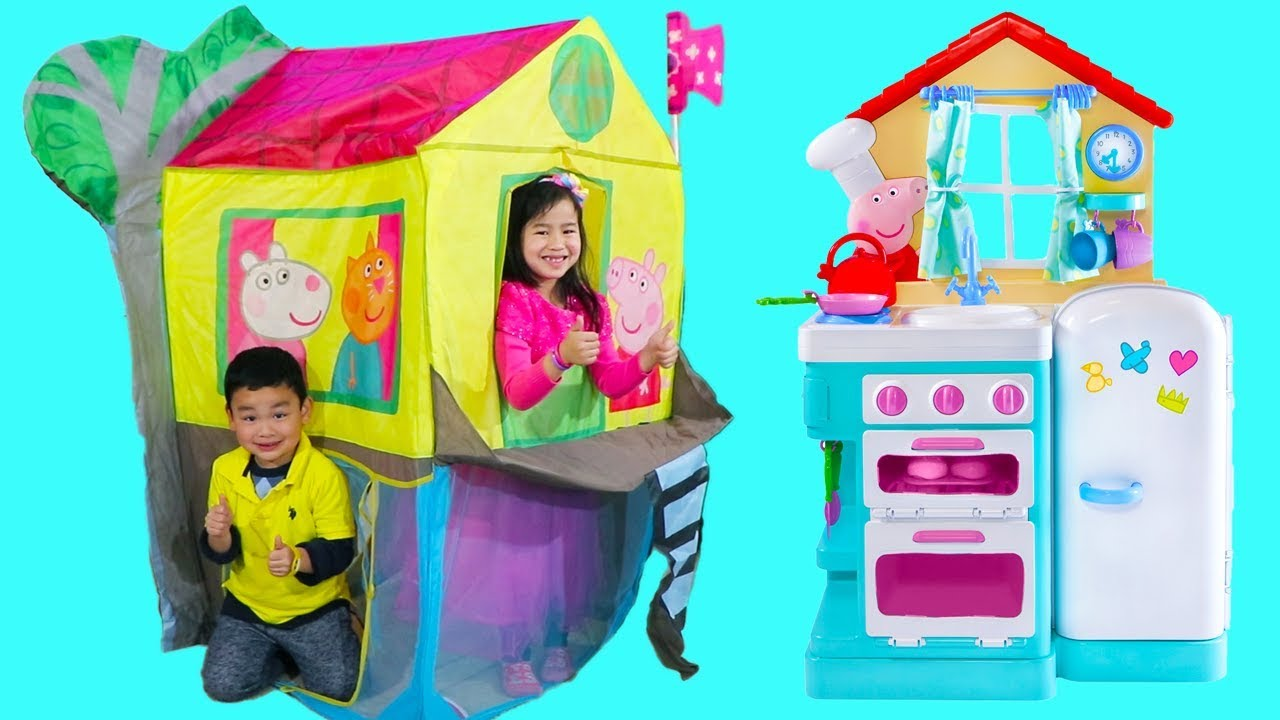 Jannie Pretend Play with Peppa Pig Treehouse Tent Toy with Lyndon ...