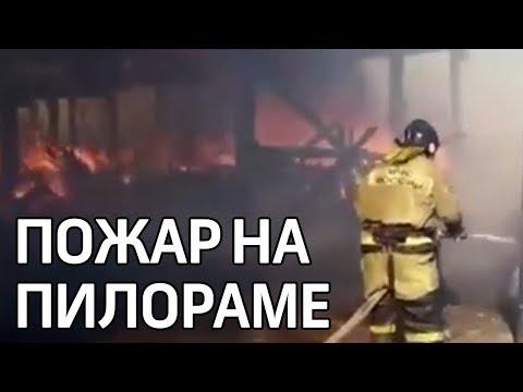 Крупный пожар ликвидируют на пилораме в городе Нижнеудинске