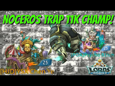 Noceros Trap VS 11k Mythic Champ! - Lords Mobile