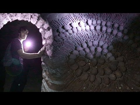 OVERNIGHT IN CATACOMBS OF LIMA, PERU! (Warning: Real Skeletons - 25,000 Bodies)