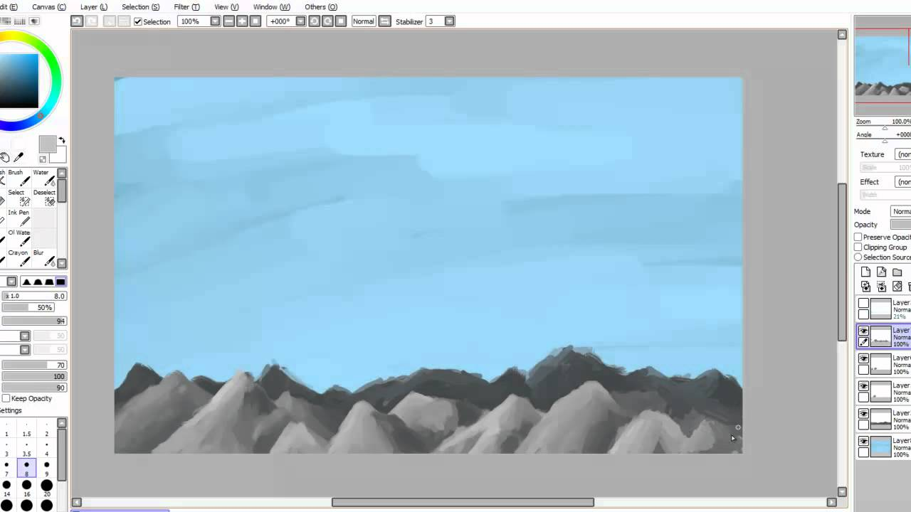 How To Draw Mountains In Paint Tool Sai