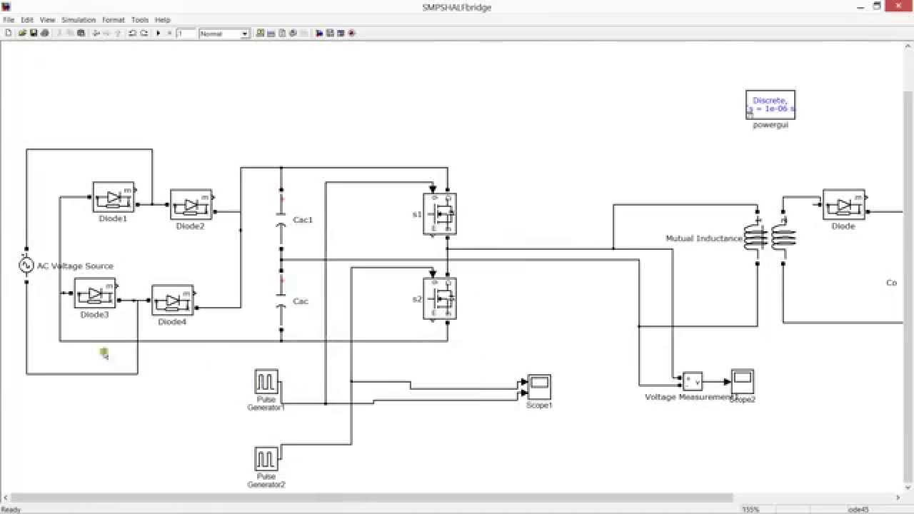 HALF BRIDGE BASED SMPS SIMULATION -MATLAB -SIMULINK (230V AC TO 12V DC)