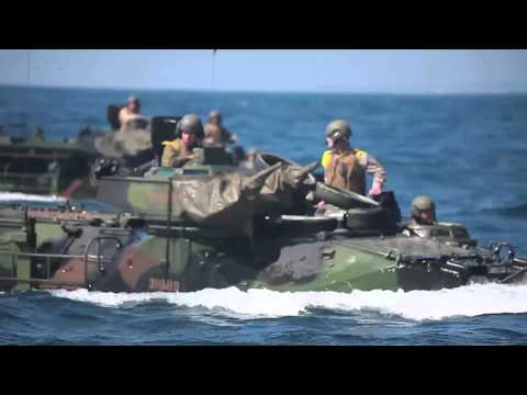 Marine Amphibious Assault Vehicles (AAV-7A1) in action (PART