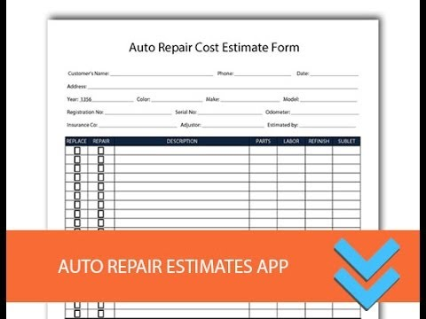 Automotive repair form printed with your shop's name and logo; Free Auto Repair Estimates Form Freedform Com Youtube
