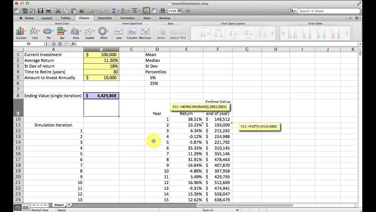 basic monte carlo simulation of a stock portfolio in excel