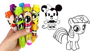 Drawing & Coloring with Surprise Toys Minnie Mouse Twilight Sparkle Pikmi Pops Lalaloopsy Kinder Egg