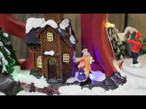 Animated Musical Christmas Village 'SNOW' Scene