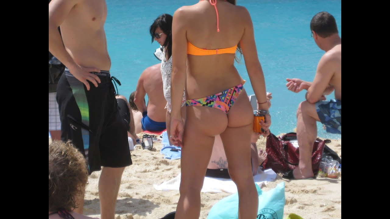 Maho Beach Landings And Takeoffs W Thong Bikini Babe
