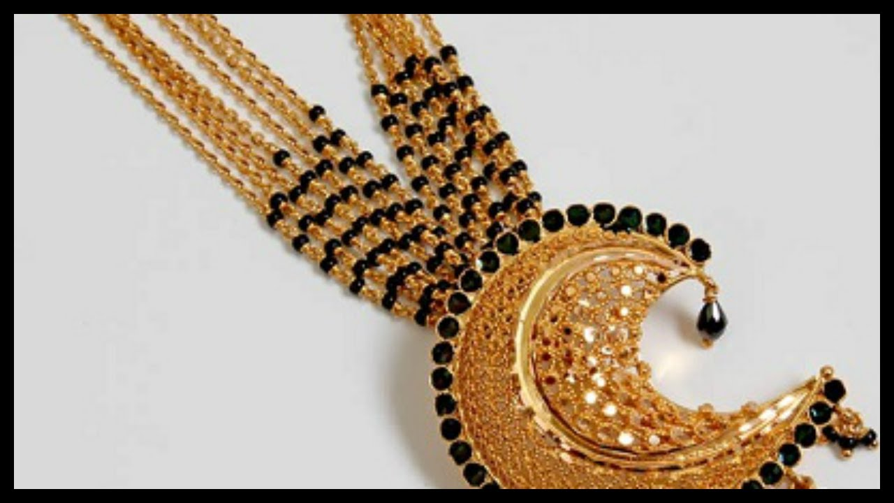 10 Gold Black Beads Mangalsutra Designs #1
