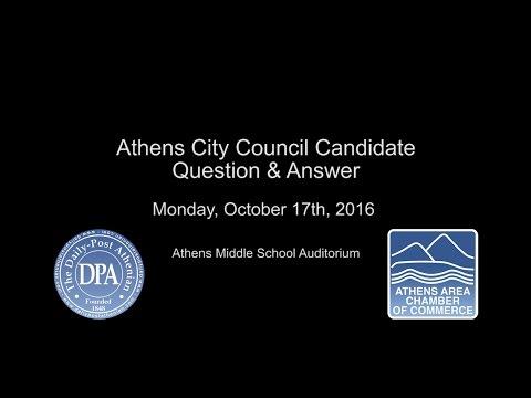 Athens City Council Candidates Q&A  -  10-17-16