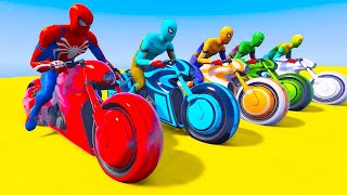 GTA 5 Spiderman Motorcycle Challenge Mega Ramps With Colorful Spiderman MODS