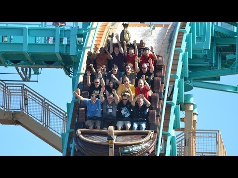 Journey To Atlantis Water Coaster POV SeaWorld San Antonio Texas