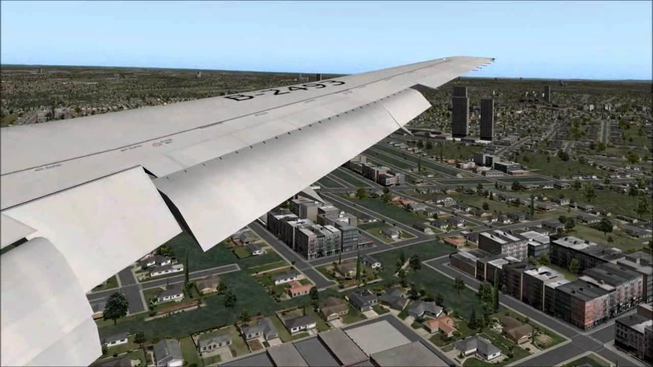 X-Plane 10 Boeing 767 Landing at Sydney International Airport YSSY (Wing  view)