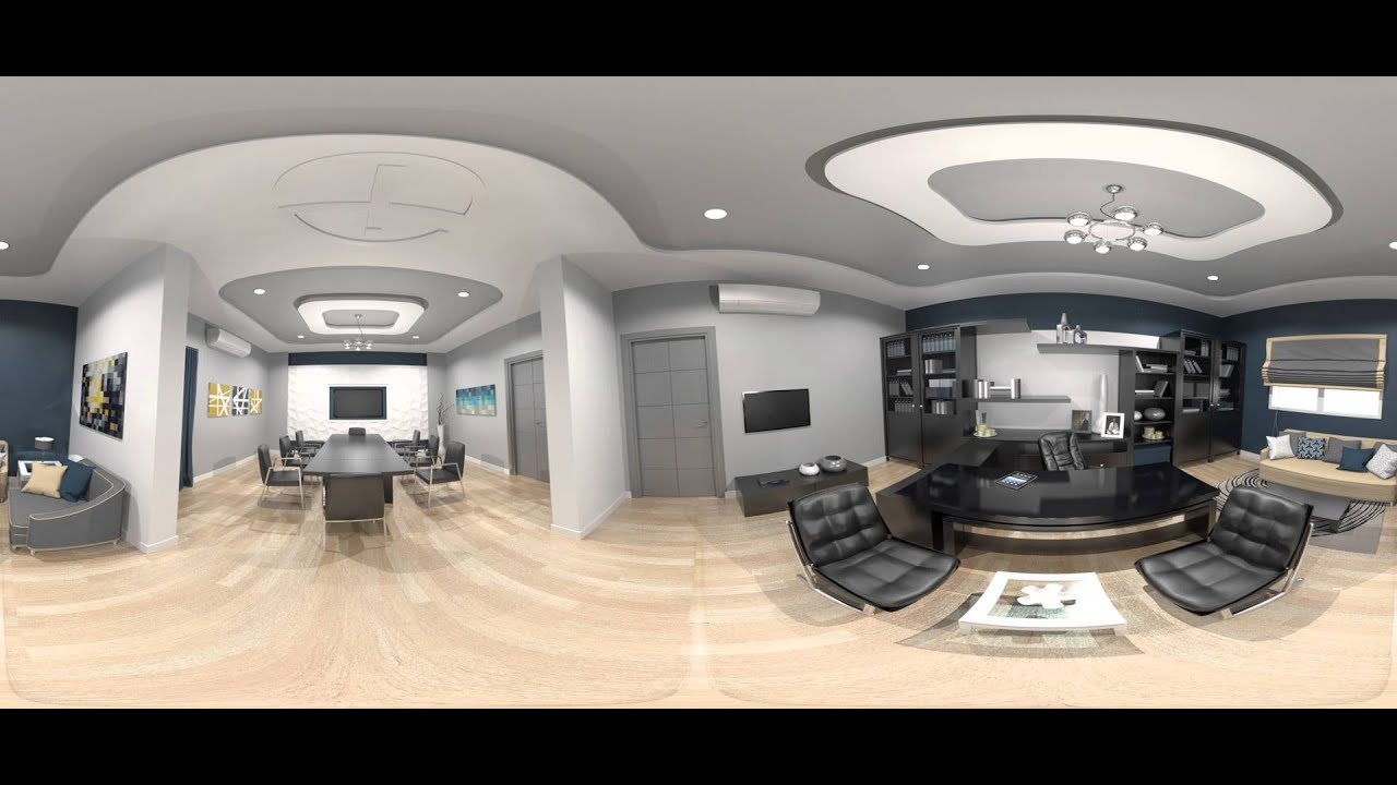 3dmax office interior design 360 degree youtube. Black Bedroom Furniture Sets. Home Design Ideas