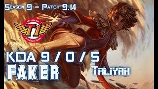 SKT T1 Faker TALIYAH vs ZOE Mid - Patch 9.14 KR Ranked