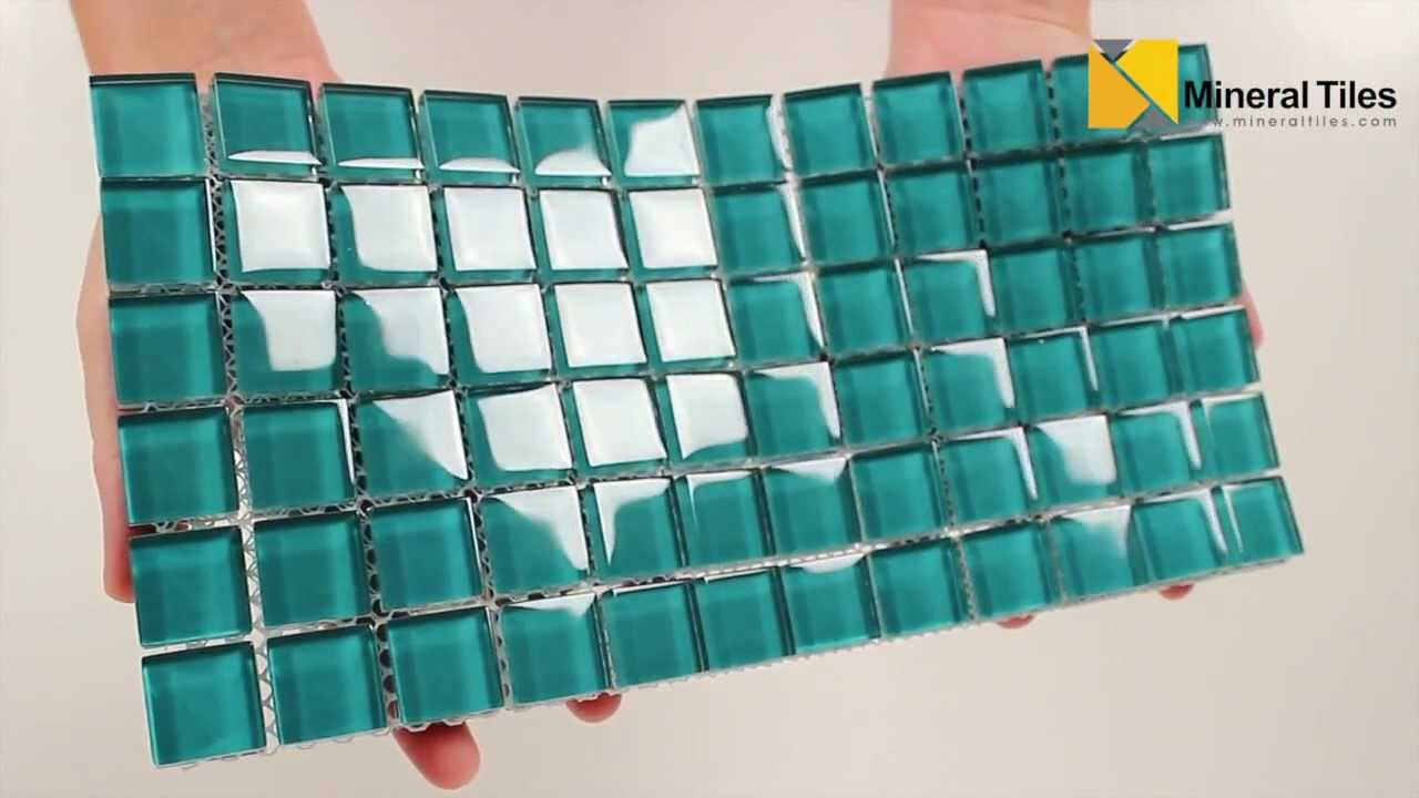 - Glass Mosaic Tile Backsplash Aqua 1x1 - 101CHIGLABR138 - YouTube