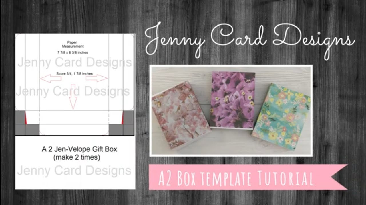 How to Make an A21 Card Box Set Tutorial  Jenny Card Designs Templates   DIY Crafts Inside A2 Card Template