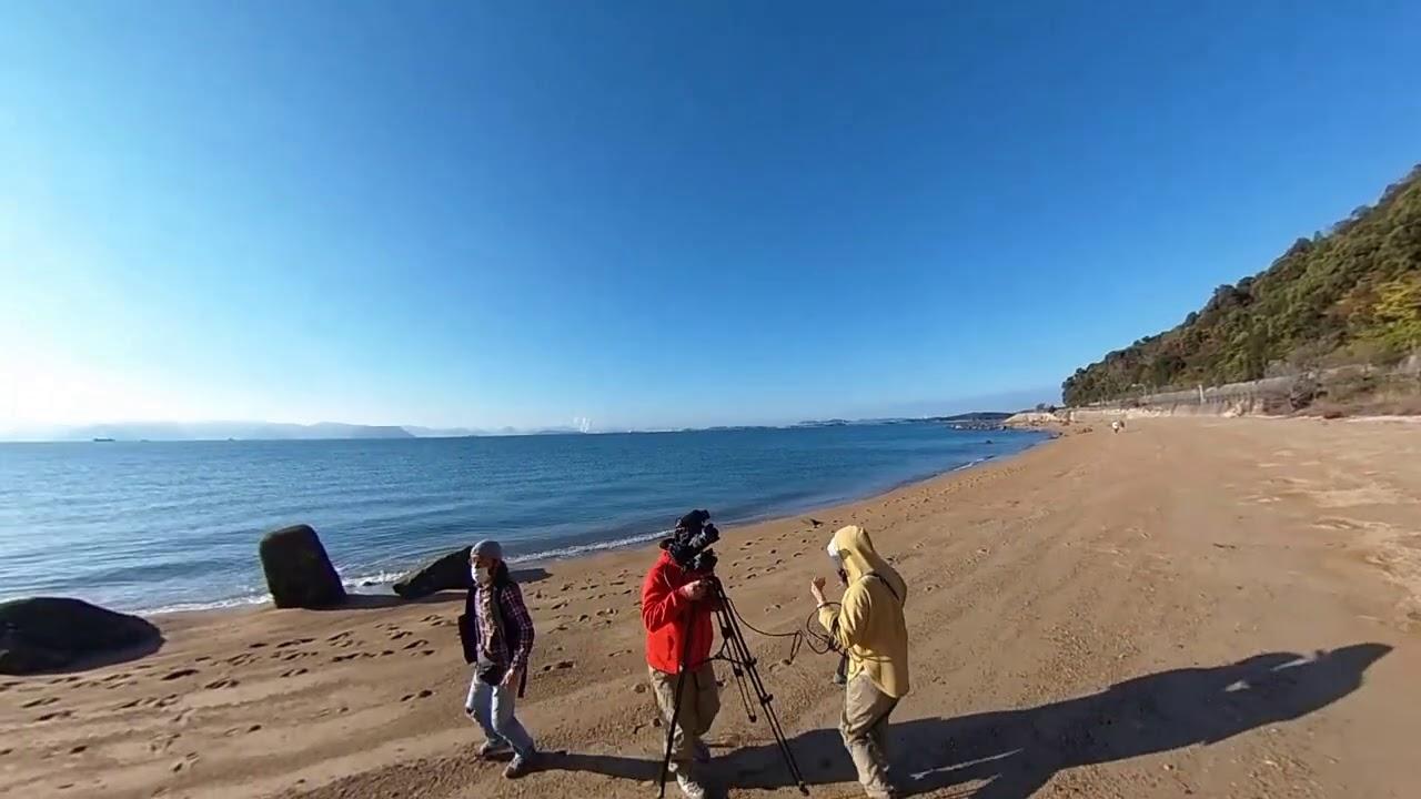 20201129001児島の海岸で映画「石だん」撮影現場
