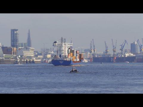 4K Ultra HD Video Image: Hamburg, Germany - Hafen (Harbor), Elbe, Container Ship