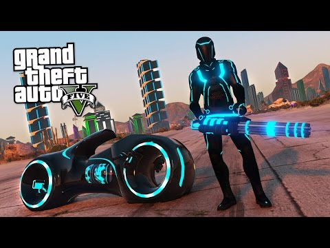 TRON MOD w/ LIGHT SUIT, LIGHT CYCLE & TRON CITY!! (GTA 5 Mods)