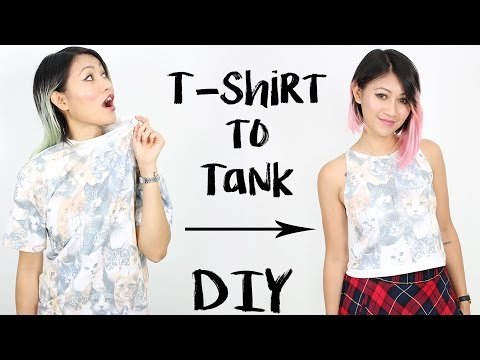 c4e21f5d57fbf DIY  T-Shirt into High Neck Tank Top - YouTube