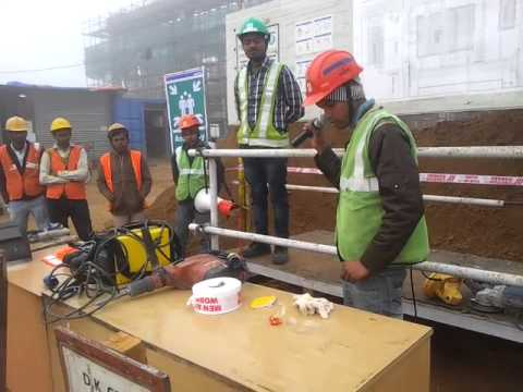 Safety training to workers for safe use of machine and required PPE's