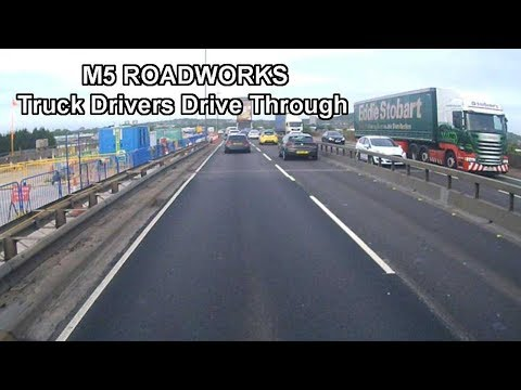 M5 Roadworks Truck Drivers drive through from M6 Junction Southbound
