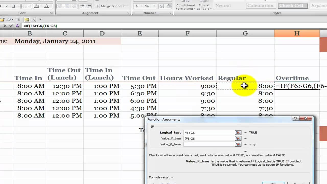 how to calculate overtime hours on a time card in excel youtube