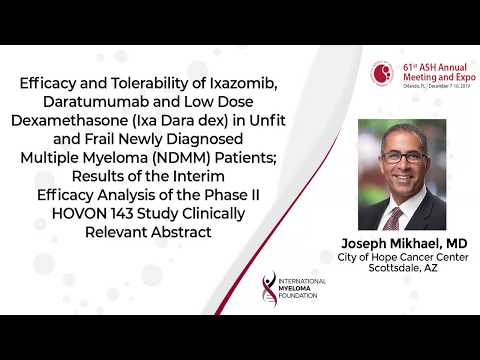 Efficacy and Tolerability of Ixazomib, Daratumumab and Low Dose Dex in Unfit and Frail NDMM Patients