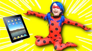 Julia as Ladybug jumped out of the tablet