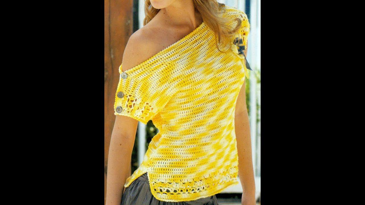 Patr n para tejer blusa amarilla a crochet youtube - Jerseys faciles de hacer ...