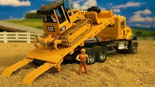 Stunning Truck Construction Site Action, Bruder Toys Bulldozer in Action!