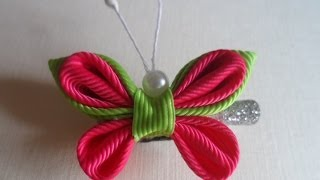 Repeat youtube video Розовая Бабочка  Канзаши / Pink Butterfly kanzashi