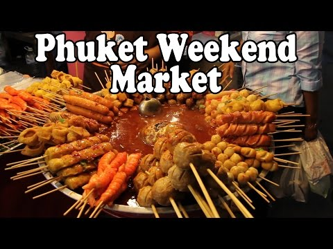 Phuket Weekend Market. Shopping and Thai Street Food in Phuket Thailand.