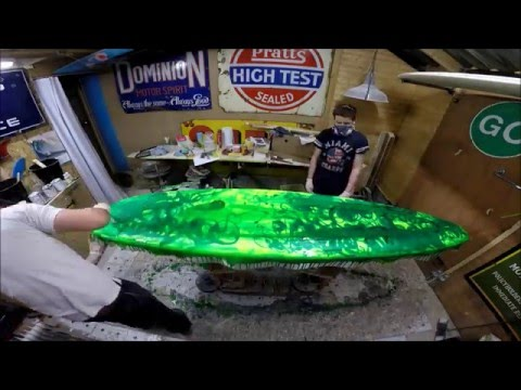 Glassing a Longboard Surfboard Resin Art Resin Swirl Green Electrofish Surfboards Devon Manufacture