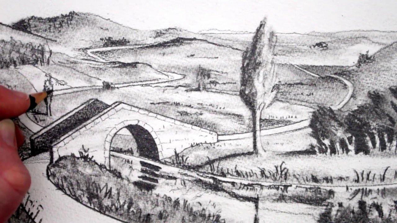 How to draw a landscape pencil drawing narrated