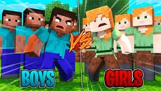 Minecraft  | GIRL ARMY VS BOY ARMY! (1000 Girls vs 100 Boys)