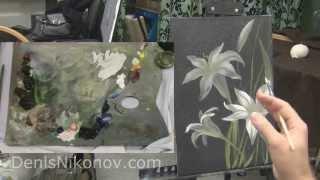 Рисуем белую лилию акрилом и маслом на темном фоне(В видео мастер-классе по живописи Денис Никонова показывает, как при помощи лессировок написать белую лили..., 2014-11-10T09:55:45.000Z)