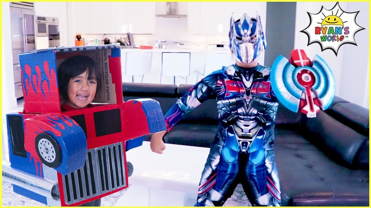 Download Superhero Ryan Transformer vs Optimus Prime Mommy Pretend Play Story!!
