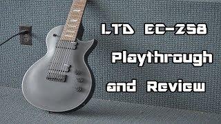 ESP LTD EC-258 BLKS Black Satin 8-String Electric Guitar Bundle w//Hard Case and