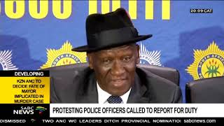 Bheki Cele calls on protesting police officers to report for duty