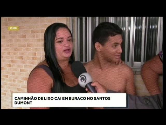 Caminhão de lixo caiu em buraco no Santos Dumont