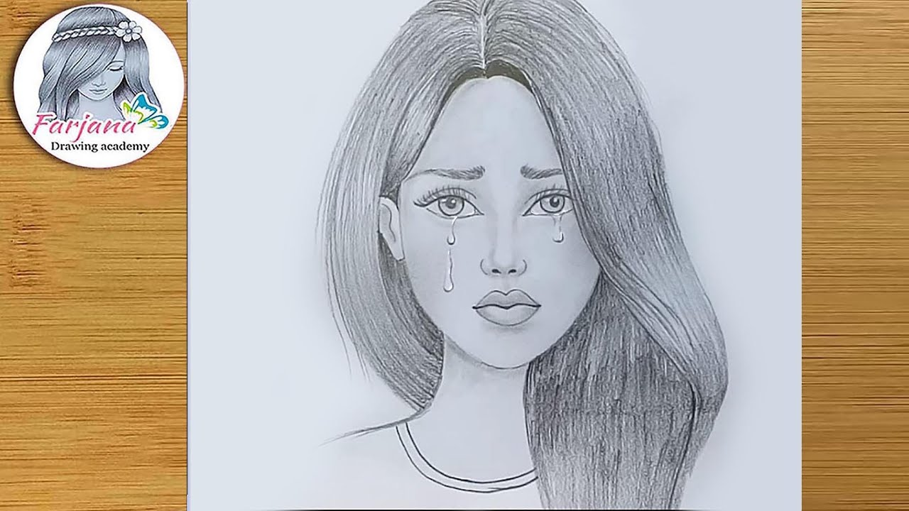 Crying girl pencil sketch how to draw crying girl