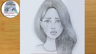 Crying girl pencil sketch /  How to draw Crying girl