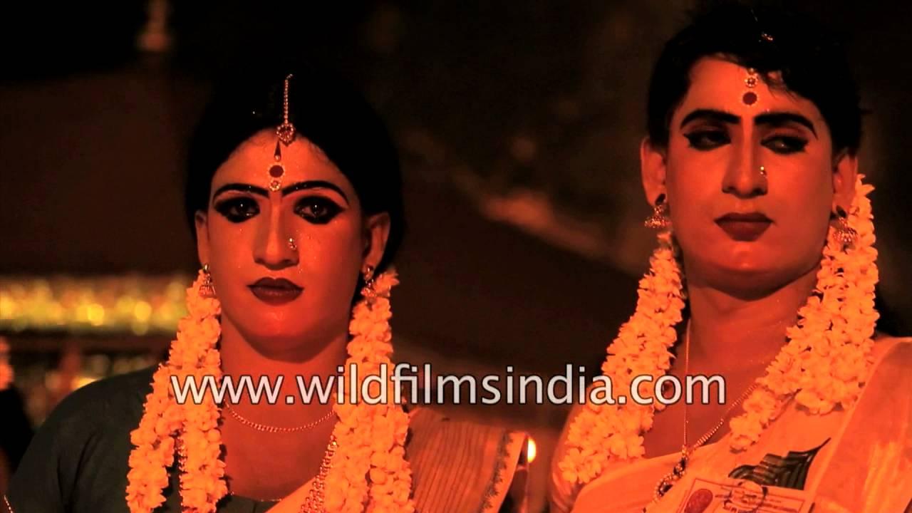c45e0699ed Straight men dress up as women here in India, as a fertility prayer :  Chamayavilakku - YouTube