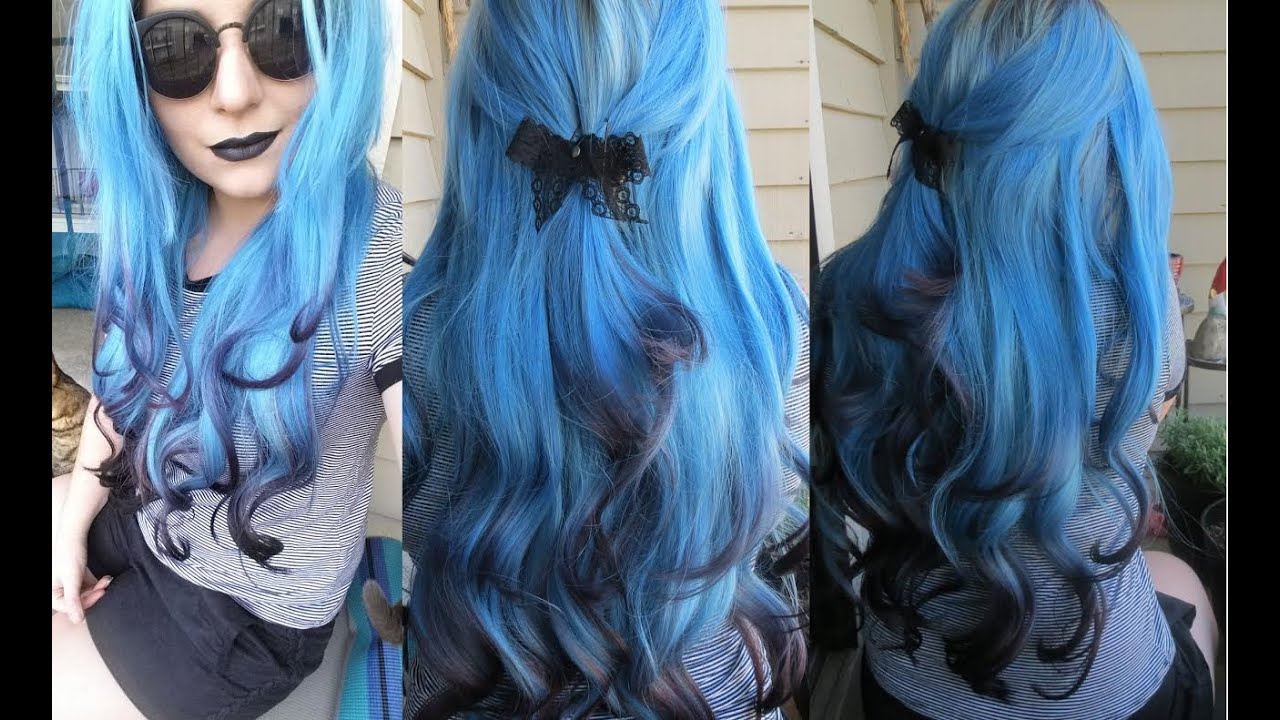 How I Dyed My Hair Extensions Blue With Black Tips Ice Fire Black